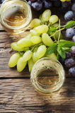 White grapes juice on the wooden table Stock Photo