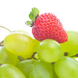 White grapes and strawberries Royalty Free Stock Photo
