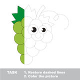 White grapes to be colored. Vector trace game. Royalty Free Stock Images