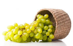 White grapes in a wicker basket Royalty Free Stock Images