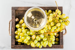 White grapes and wine. White grapes and white wine in a glass, in a wooden tray on a white marble table. Copy space top view royalty free stock photos