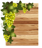 White grapes on a wooden background stock illustration