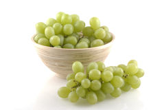 White grapes in wooden bowl. Stock Photography