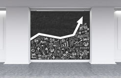White graph on blackboard and business icons royalty free illustration