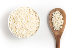White grated corn kernels into a bowl Royalty Free Stock Photos