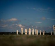 White gravestones. Row of white gravestones in prince edward island Royalty Free Stock Image