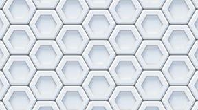 White gray abstract hexagonal background. 3D Stock Photo