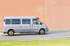 White gray blank Shuttle Bus Stock Photo