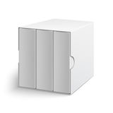 White gray box cover with group of blank books. White gray cardboard box cover with group of blank books on white background. Mock-up template ready for design royalty free illustration