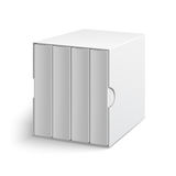 White gray box cover with group of blank books. White gray cardboard box cover with group of blank books on isolated white background. Mock-up template ready for stock illustration