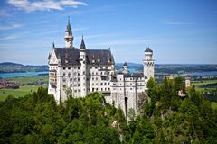 White and Gray Castle on Forest stock photo