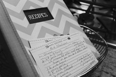 White and Gray Chevron Print Recipes Book stock images