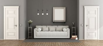 White and gray classic living room Royalty Free Stock Images