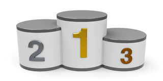 White and gray cylinder podium Stock Images