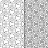 White and gray floral backgrounds. Set of seamless patterns. For textile and wallpapers Royalty Free Stock Photos
