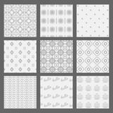 White and gray geometrical and Art Deco patterns set Royalty Free Stock Photo