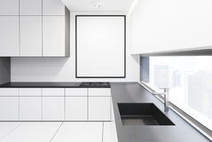 White and gray kitchenette Royalty Free Stock Photography