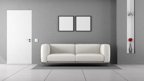 White and gray living room Stock Image