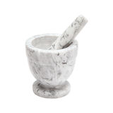 White and gray marble mortar and pestle isolated on a white surface. White and gray marble mortar and pestle Stock Image