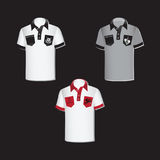 White and gray men`s shirts with emblems. stock illustration