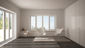 White and gray minimal living room with armchair carpet, parquet floor and panoramic window, scandinavian architecture. Modern interior design royalty free stock images