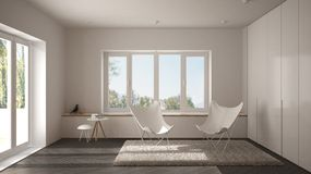 White and gray minimal living room with armchair carpet, parquet floor and panoramic window, scandinavian architecture, modern int. Erior design royalty free stock image