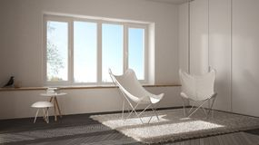 White and gray minimal living room with armchair carpet, parquet floor and panoramic window, scandinavian architecture, modern int. Erior design stock photos