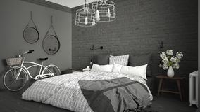 White and gray modern bedroom with cozy double bed, brick wall, Royalty Free Stock Images