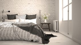 White and gray modern bedroom with cozy double bed, brick wall, Stock Photos