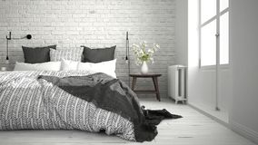 White and gray modern bedroom with cozy double bed, brick wall, Stock Photography