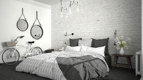 White and gray modern bedroom with cozy double bed, brick wall, Royalty Free Stock Photos
