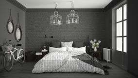 White and gray modern bedroom with cozy double bed, brick wall, Stock Photo