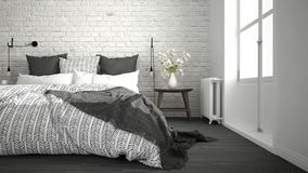 White and gray modern bedroom with cozy double bed, brick wall, Royalty Free Stock Photography