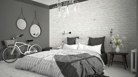 White and gray modern bedroom with cozy double bed, brick wall, Royalty Free Stock Photo