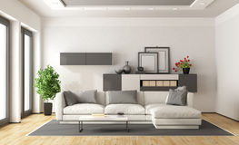 White and gray modern lounge. White and gray modern minimalist living room - 3d rendering Royalty Free Stock Photos