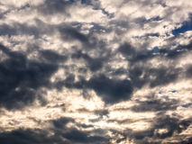 White and gray puffy clouds in blue sky Royalty Free Stock Photos