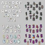 White, Gray and Purple Letters and Numbers royalty free stock photo