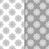 White and gray set of floral backgrounds. Seamless patterns Royalty Free Stock Photos