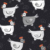 White gray singing hens on dotted dark Stock Image