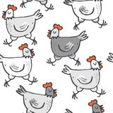 White gray singing hens on white Stock Photos