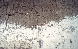 White and gray texture cracked concrete wall, half-painted with obsolete white paint Royalty Free Stock Photo