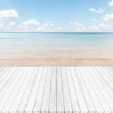 White gray wooden floor ,sea and blue sky background. Summer on Stock Photo