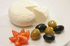 White greece cheese and olives Royalty Free Stock Photography