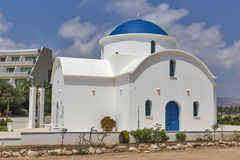 White Greek chapel closeup in Paphos, Cyprus Stock Photo