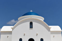 White Greek chapel closeup in Paphos, Cyprus Royalty Free Stock Images