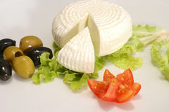 White greek cheese and olives Stock Photos