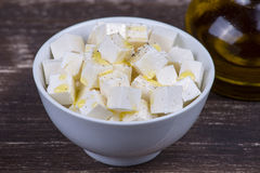White greek cheese in plate, close up Stock Photography