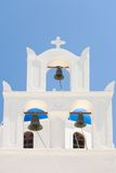 White Greek church bell tower Royalty Free Stock Images