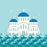 White Greek Church near blue sea Royalty Free Stock Image