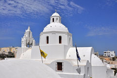 White greek church on santorin island Royalty Free Stock Photography
